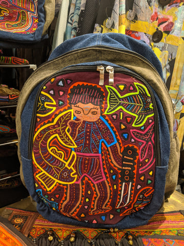 Tribal Textile Vegan Mola Backpack - Gone Fishing