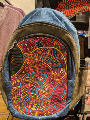 Tribal Textile Vegan Mola Backpack - Yin Yang Fish