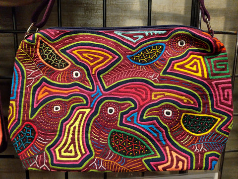Tribal Textile Vegan Mola Purse - Bird family
