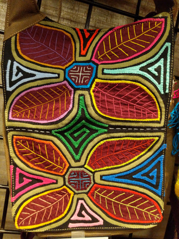 Tribal Textile Vegan Mola Purse - Dos flores