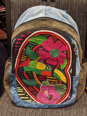 Tribal Textile Vegan Mola Backpack - Loro