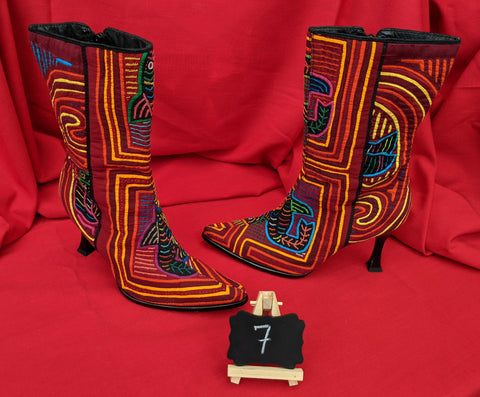 Paris Zipper Mola Boot Tribal Textiles - size 7 - Fiesta