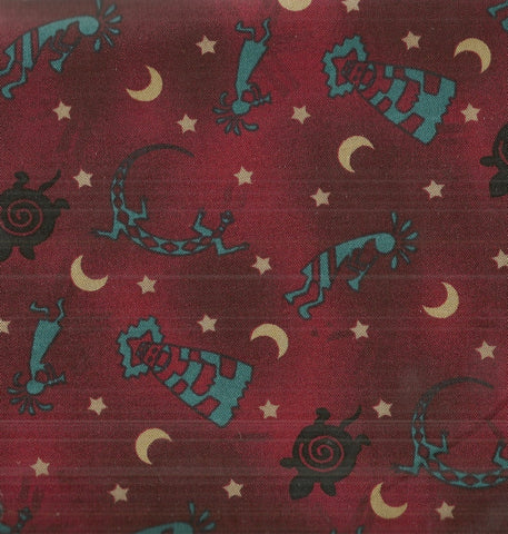 Southwest kokopelli brown turquoise symbols David fabric