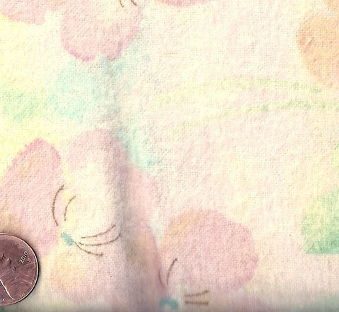 Cuddle pink flowers on yellow flannel Balnk fabric