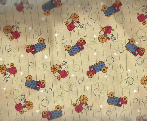 Rons World Trucks tractors tan farm Henry Glass Buggy Barn fabric