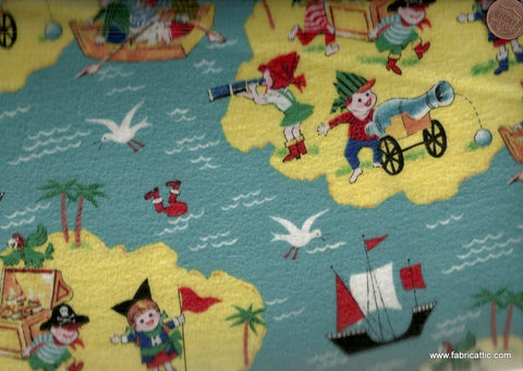 Treasure Island retro kids flannel Michael Miller fabric