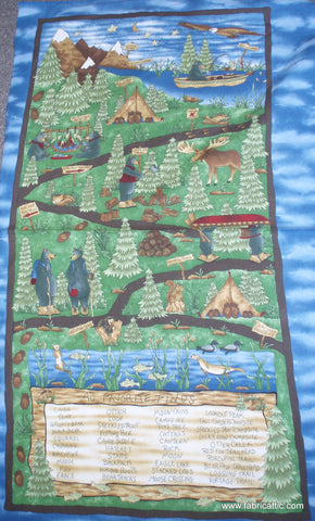 Hiking the Forest I Spy flannel panel Riverwoods fabric
