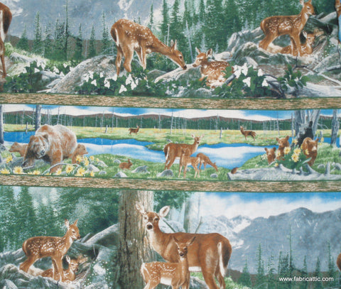 Journeys Beginning Stripe wildlife deer Wilmington fabric