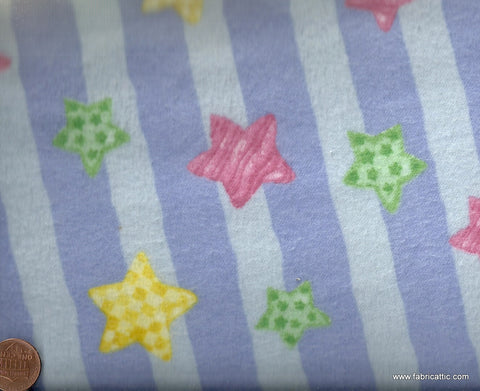 Cuddle blue striped bright stars Blank flannel fabric