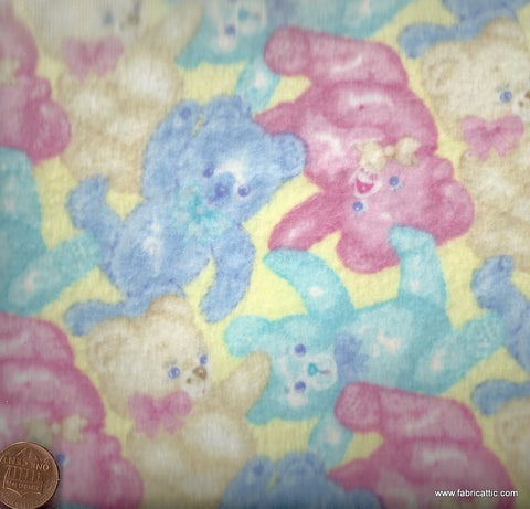 More Baby Talk pink blue yellow teddy bears flannel Moda fabric