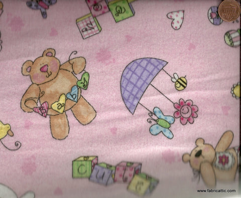 Bouncing Baby pink girl toys flannel Wilmington fabric