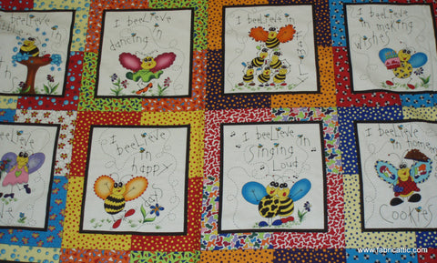 Beez bugs cute panel Northcott fabric