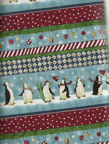 Merry Penguin stripe Christmas fabric