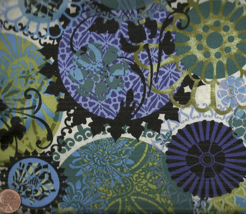 Floragraphix 3FGD-2 Jason Yenter dark blue large floral ITB fabric