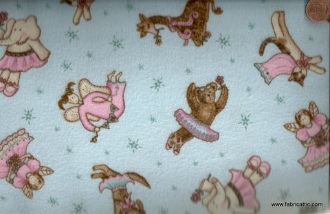 Fanciful friends flannel blue animals toys David fabric