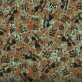Kenta African figures green Timeless Treasures fabric