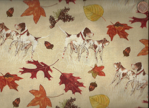 Country Fields fall leaves dogs Blue Hill fabric