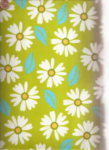 Izzy 11193 green daisies flowers Kaufman flannel