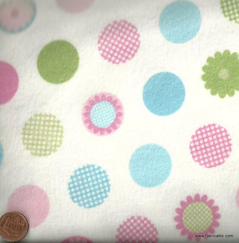 Cozy Cotton white pink blue green pastel Kaufman flannel dots fabric