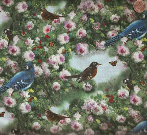Songs of Season 22229 Spectrix bluebirds spring fabric