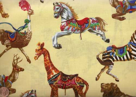Carousel yellow childrens Exclusively Quilters fabric