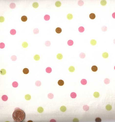 Cozy Cotton 9256-238 dots garden green pink brown Kaufman flannel