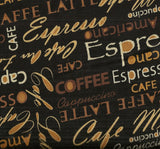 Cafe au Lait coffee words kitchen Kanvas fabric