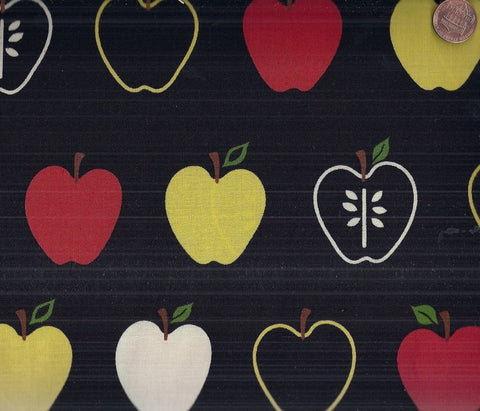 Metro Market EOK-8998-2 black apples red yellow Kaufman kitchen fabric