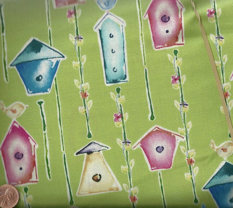 Sweet Birdie 40 green birdhouses Home Tweet Home Free Spirit fabric