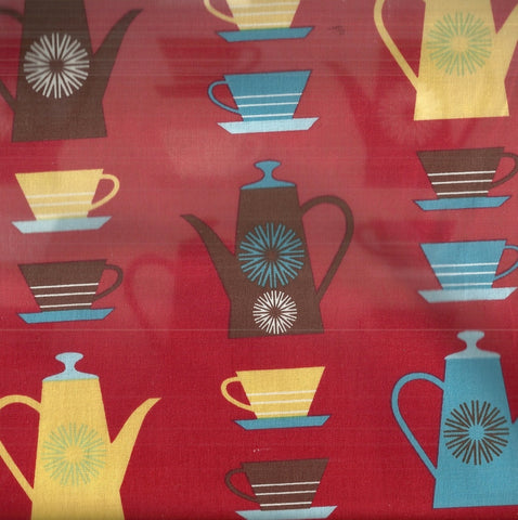 Happy Home 12100-194 red coffee pots yellow cups kitchen Kaufman fabric