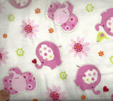 Tossed Pink Elephants Nursery cute flannel