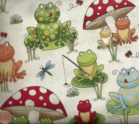 Frogs  cute children's Makower fabric
