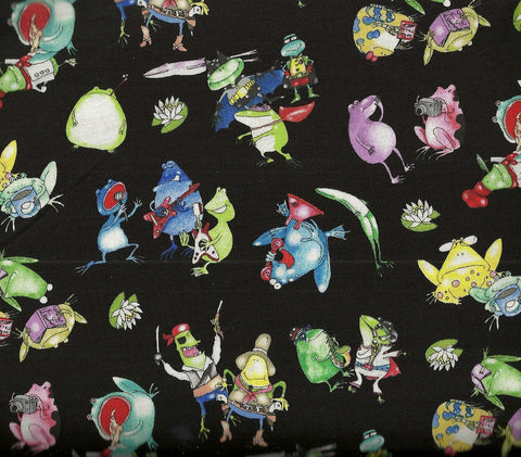 On a Lark 4005 funny frogs black Elizabeth Studio fabric