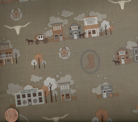 Saddle Up C2820 brown western town buildings Riley Blake fabric