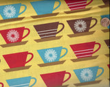 Happy Home yellow red brown coffee mugs cups kitchen Kaufman fabric