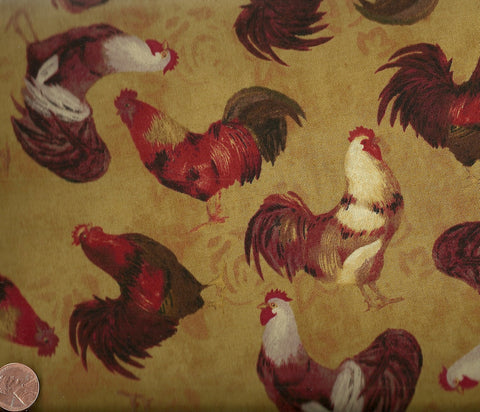 Rooster All over David farm fabric