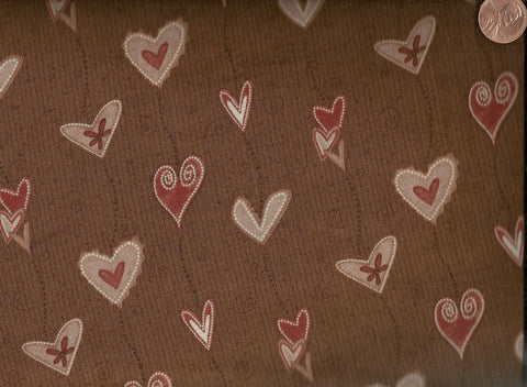 Heartstrings 22282 brown hearts Red Rooster fabric