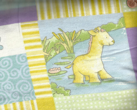 Play Day Pond patchwork children's animal flannel David fabric