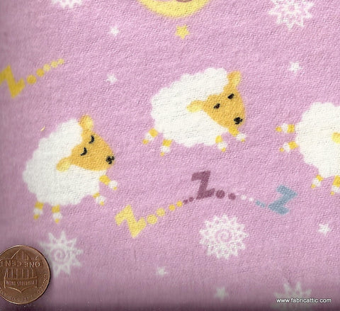 Baby Lullaby pink baby sheep moon flannel David fabric