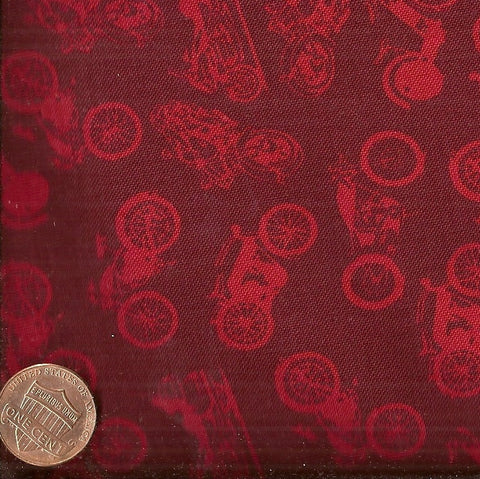 Vintage Motorcycles 60539 10 red Exclusively Quilters fabric