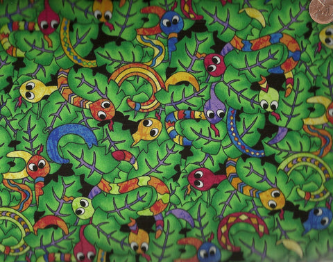 Rainforest Buzz green bugs Cheri Strole Northcott fabric