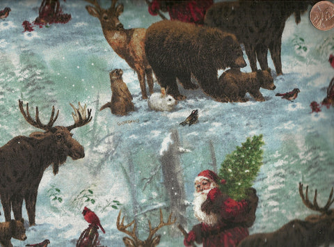 Woodland Santa Christmas wildlife Spectrix fabric