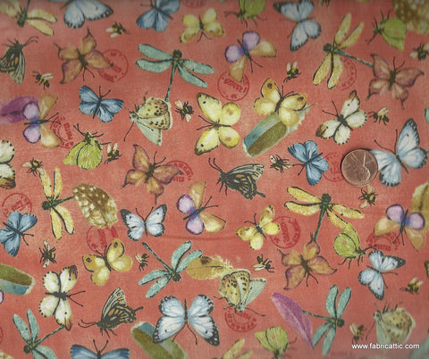 Postcard Garden 23189 orange butterflies dragonfly floral Red Rooster fabric