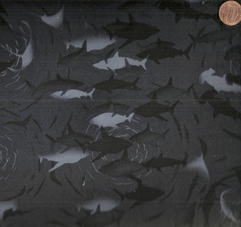 ReturntoAtlantis 4LCD 3 black gray fish sharks Jason Yenter fabric