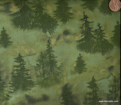 White Birch Cove 23462 green trees Red Rooster fabric