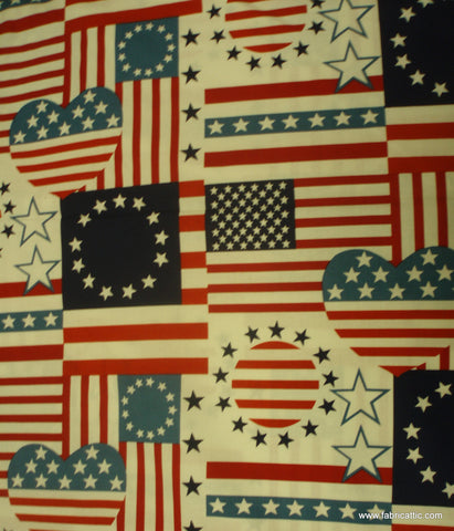 Heart of America patriotic flag Alexander Henry fabric