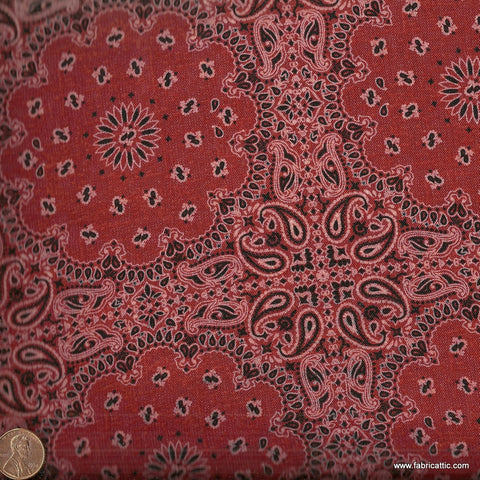 Wild West 2008 2C rusty red bandana David western fabric