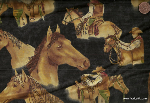 Horseshoe Trail black western cowboy horses Moda fabric