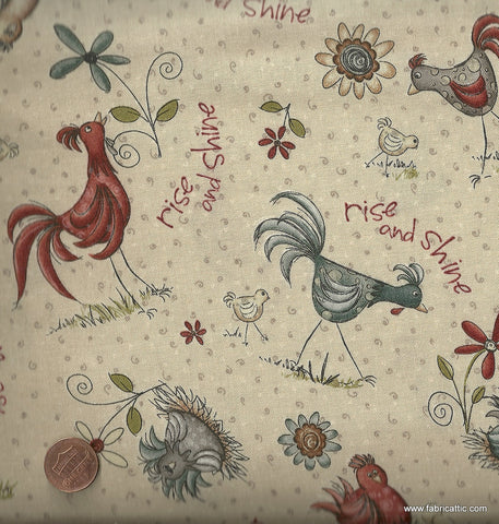 Home to Roost Roosters farm Red Rooster fabric
