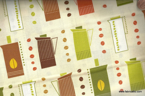 Metro Cafe retro pitchers coffee beans kitchen Kaufman fabric